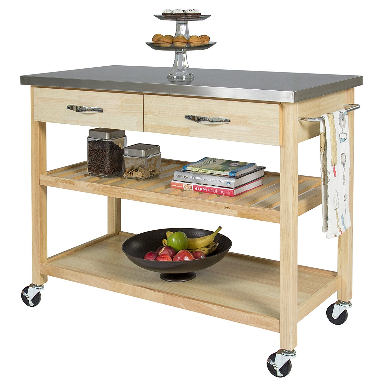 Design Ideas kitchen carts and islands amazon.com - best choice products natural wood mobile kitchen island  utility cart hmeoouv