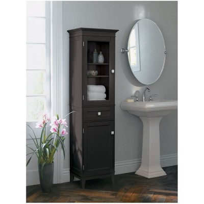 Elegant bathroom storage furniture linen cabinet espresso - fieldcrest™ vgbvrse