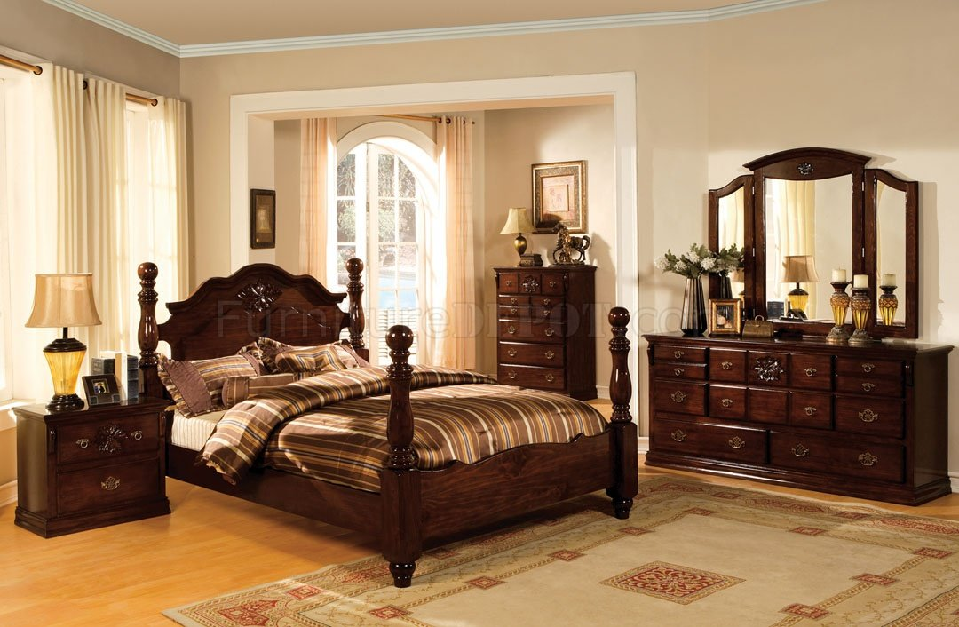Elegant classic bedroom furniture cm7571 tuscan ii bedroom in glossy dark pine w/options xjnpgbc