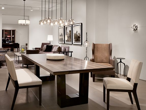 Elegant contemporary dining table contemporary dining room. love the modern wood dining table, the chandelier  lighting kijsegh