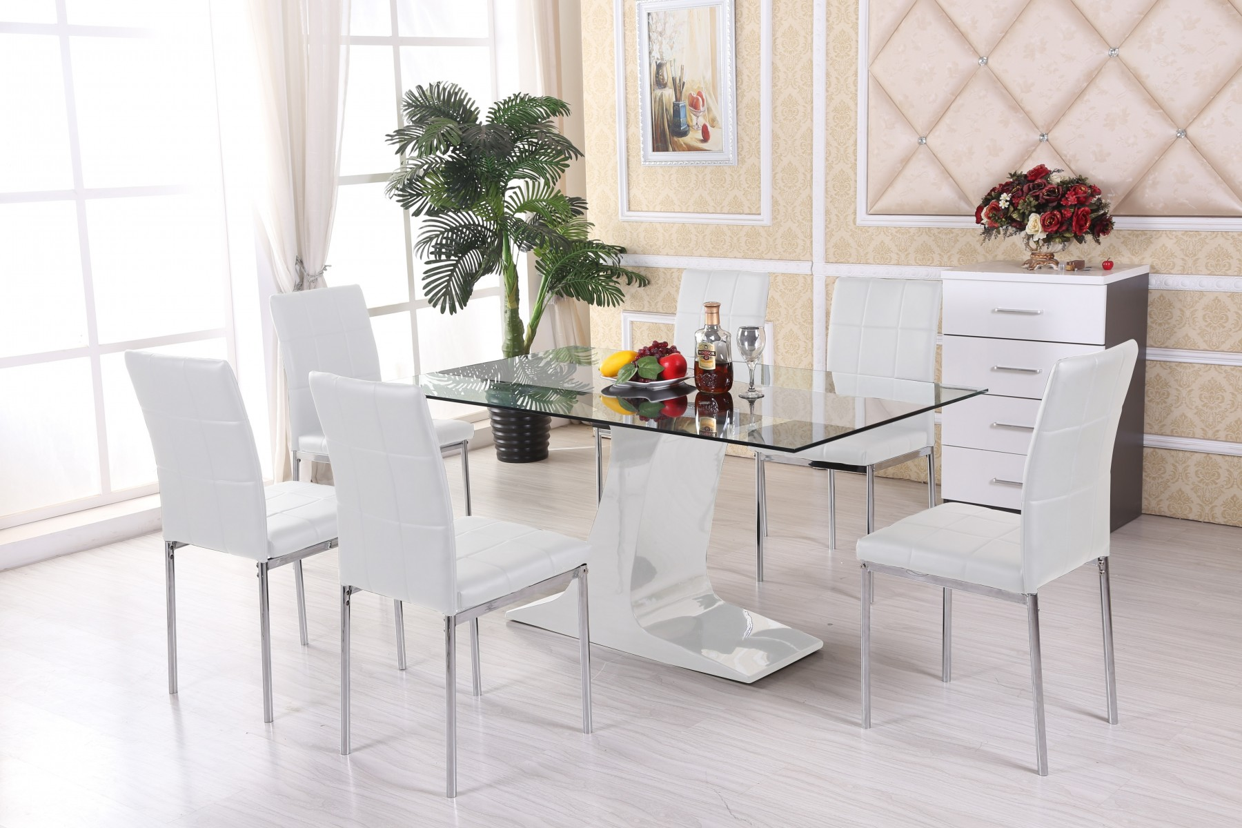 Elegant glass dining table and chairs beautiful glass dining table set 6 chairs kitchen new and ideas 5 piece goyiscz