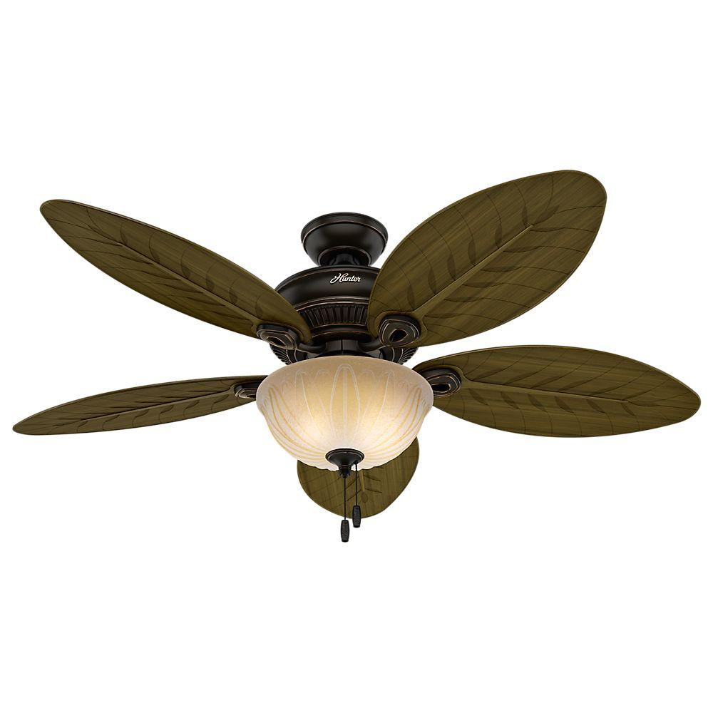 Elegant hunter outdoor ceiling fans indoor/outdoor onyx bengal bronze ceiling fan with light kit vozefpw