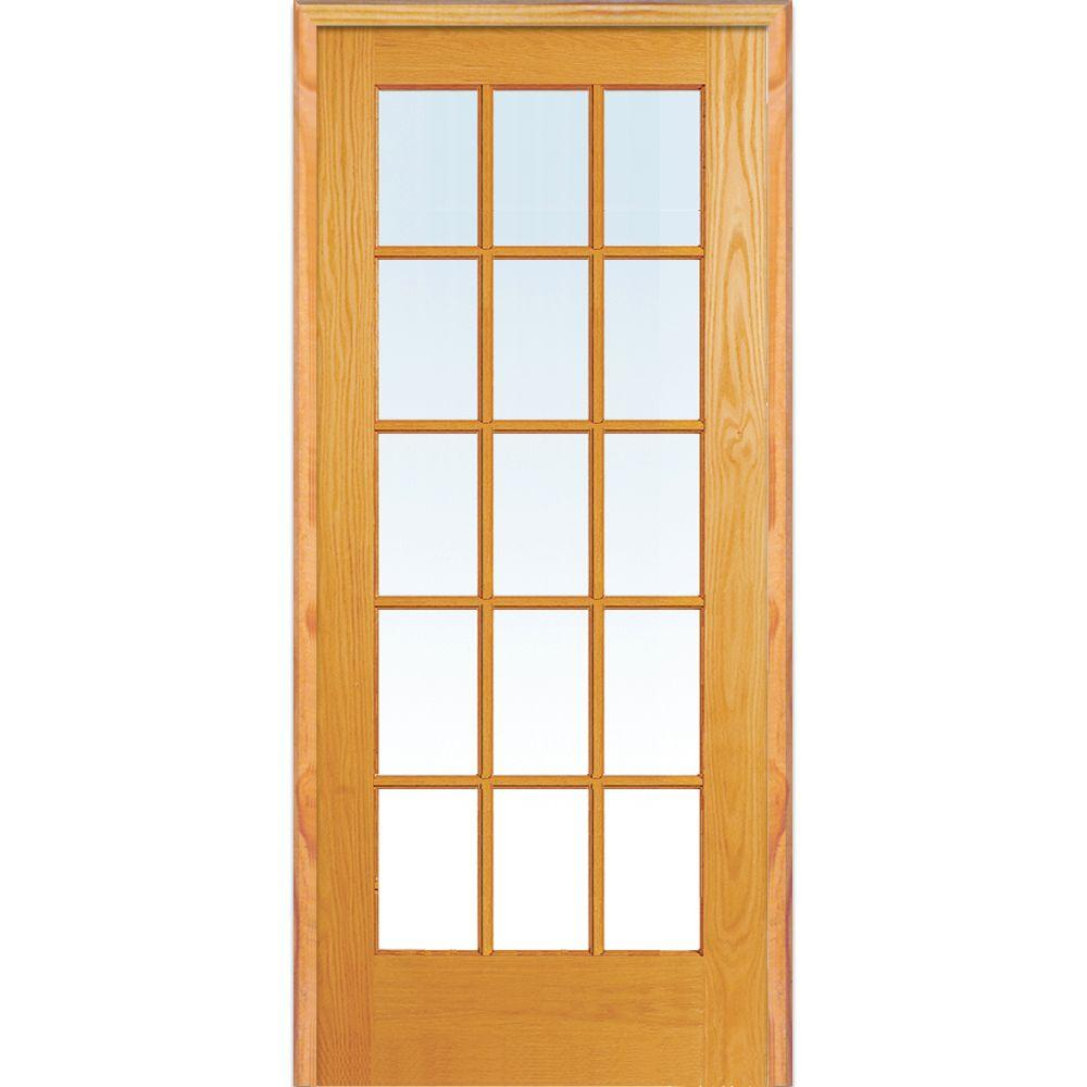 Elegant interior french doors with glass 31.5 in. x 81.75 in. classic clear true divided 15-lite unfinished bnappyg