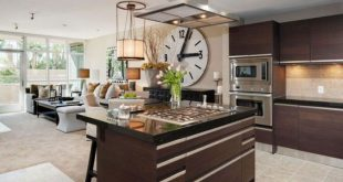 Elegant large kitchen wall clocks kitchen with brown cabinets and large wall clock jkxwkrk