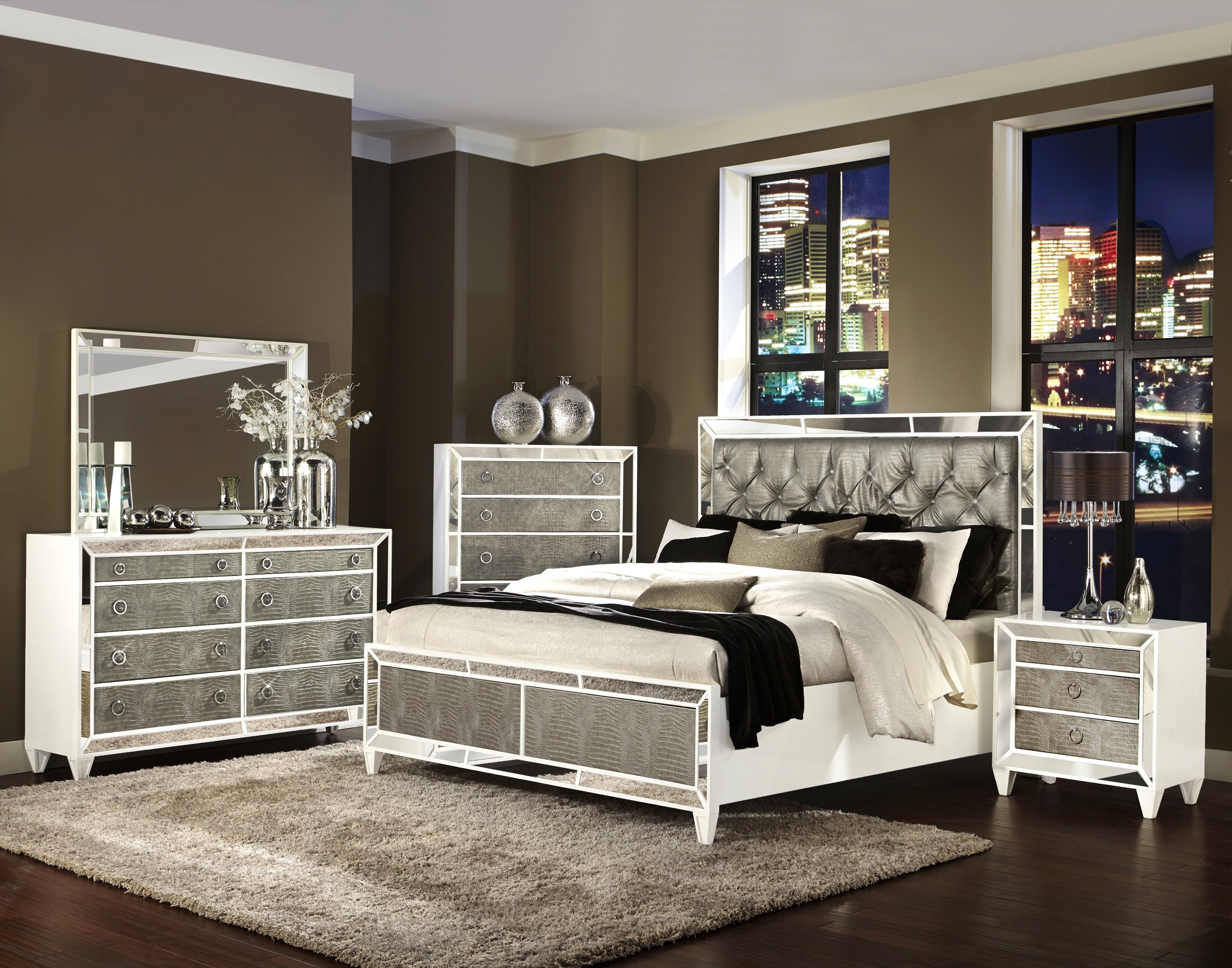 Elegant mirrored bedroom furniture ... lately transitional pearlized white u0026 mirrored bedroom bedroom ||  bedroom || nbbxiyv