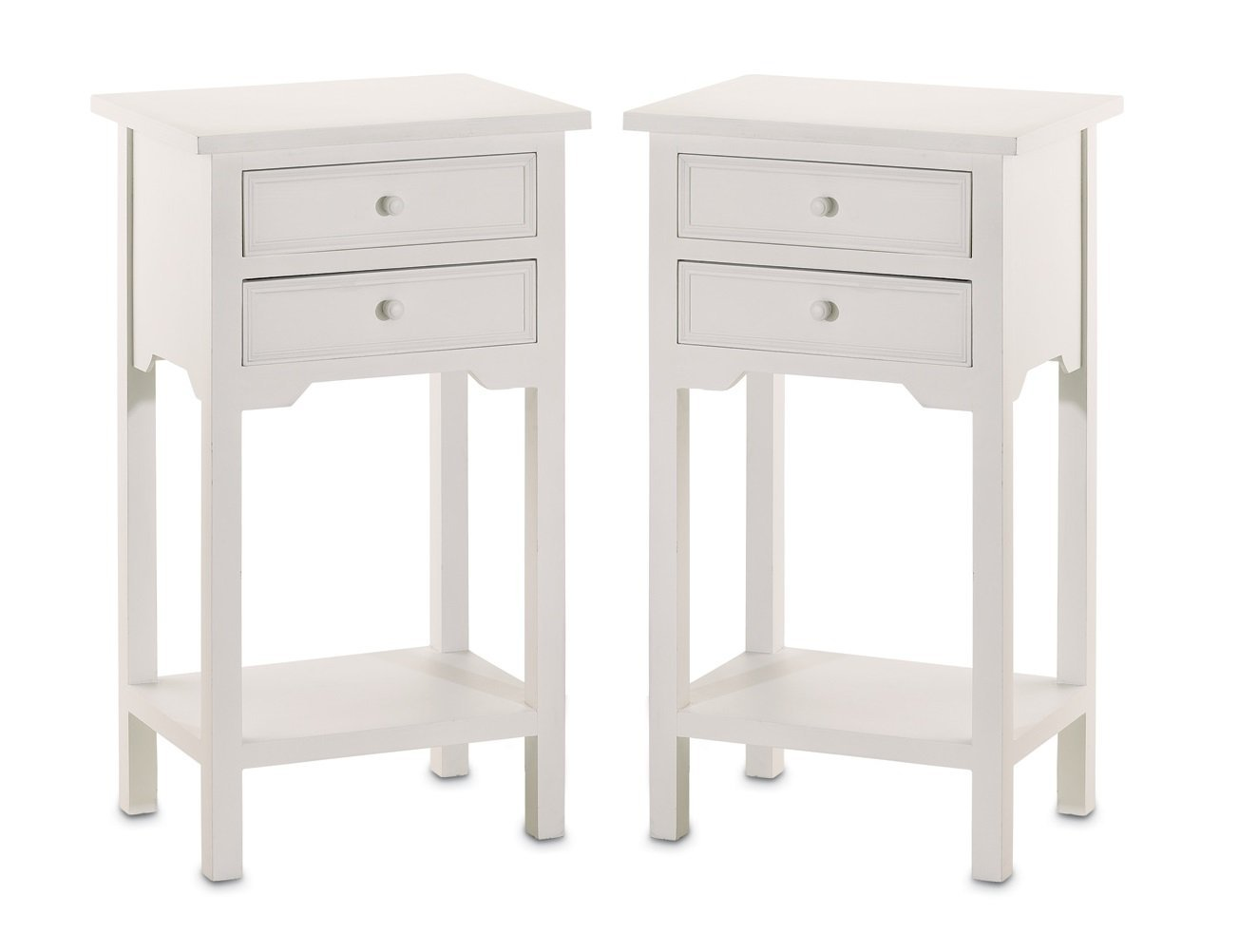 Elegant white bedside table with drawers amazon.com: set of 2 wood white end tables nightstands with two drawers: gbnrqgf