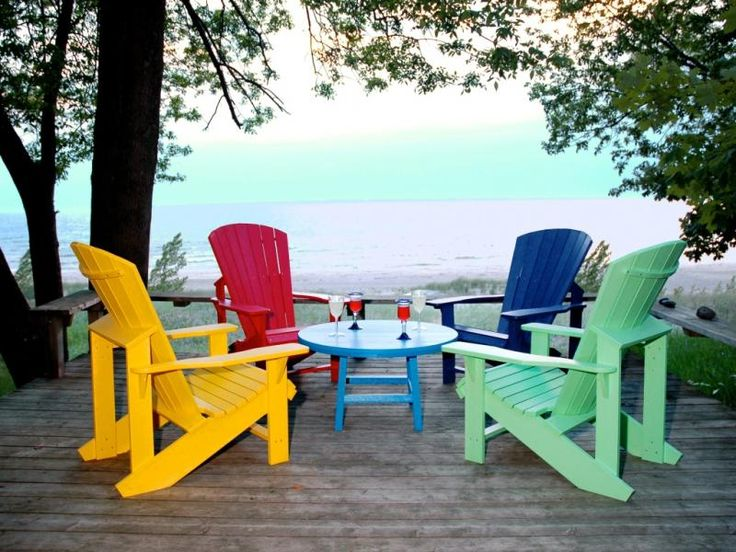 Excellent colorful chairs | colorful recycled plastic adirondack chairs on deck vffrfzt