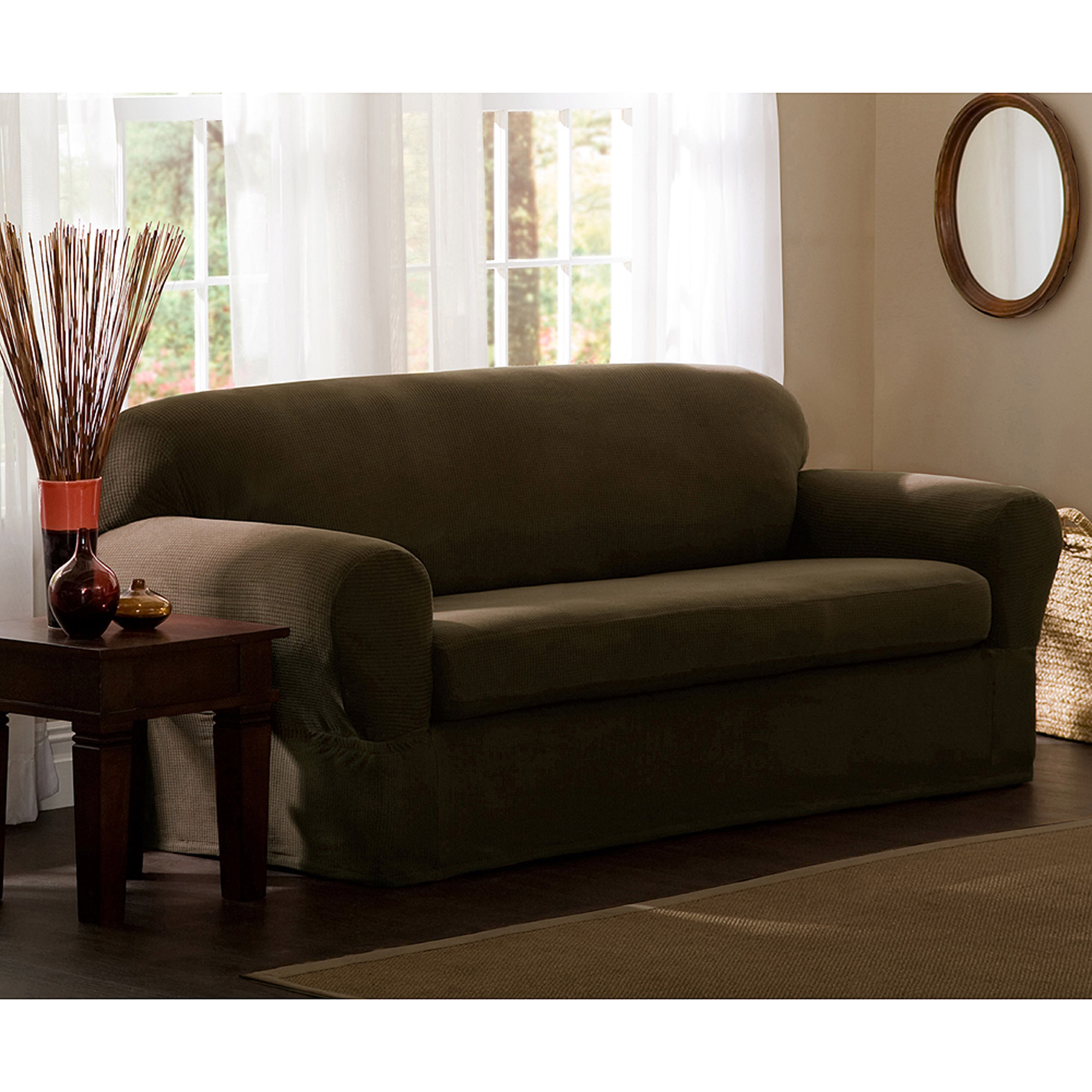 Excellent couch and loveseat covers mainstays faux suede loveseat slipcover - walmart.com brevsbe