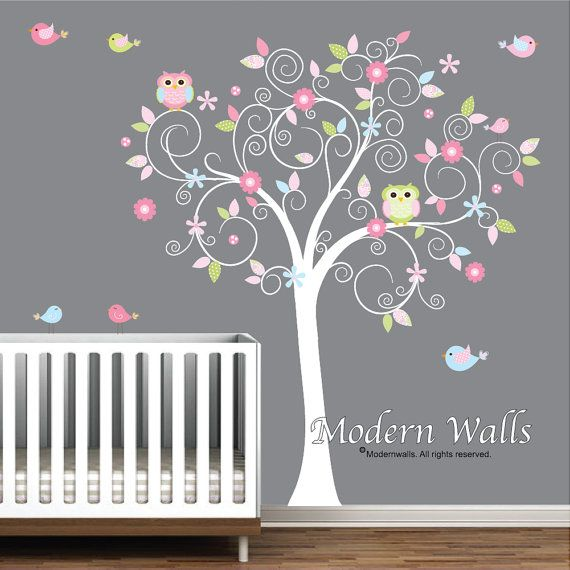 Excellent wall stickers for nursery children wall decals for nursery- tree with flowers owls birds sgerlnj
