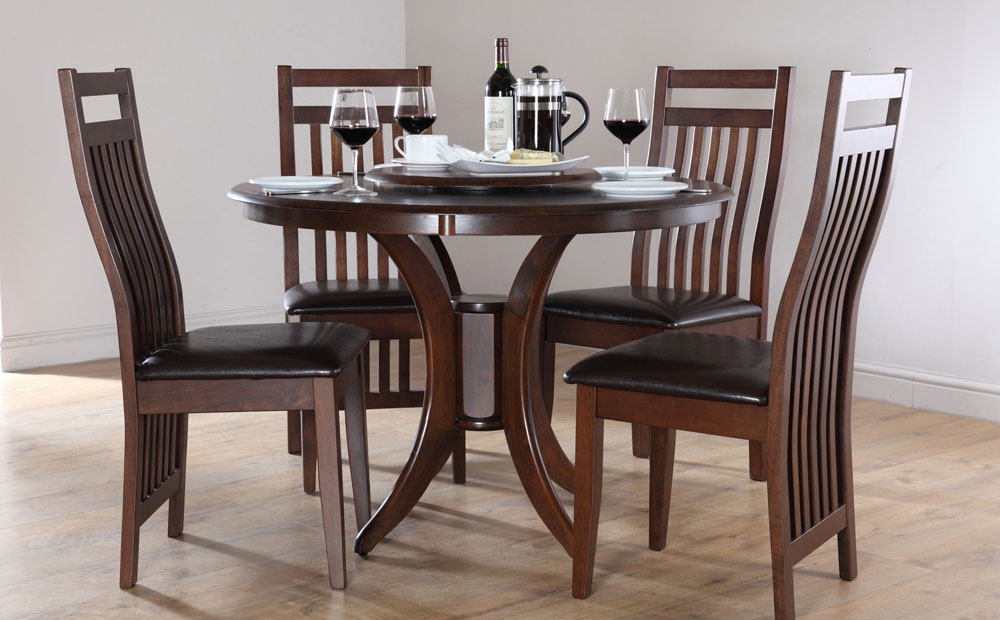 Excellent wooden dining table and chairs ... dining tables, appealing brown round modern wooden dining table and  chair wmkgumw