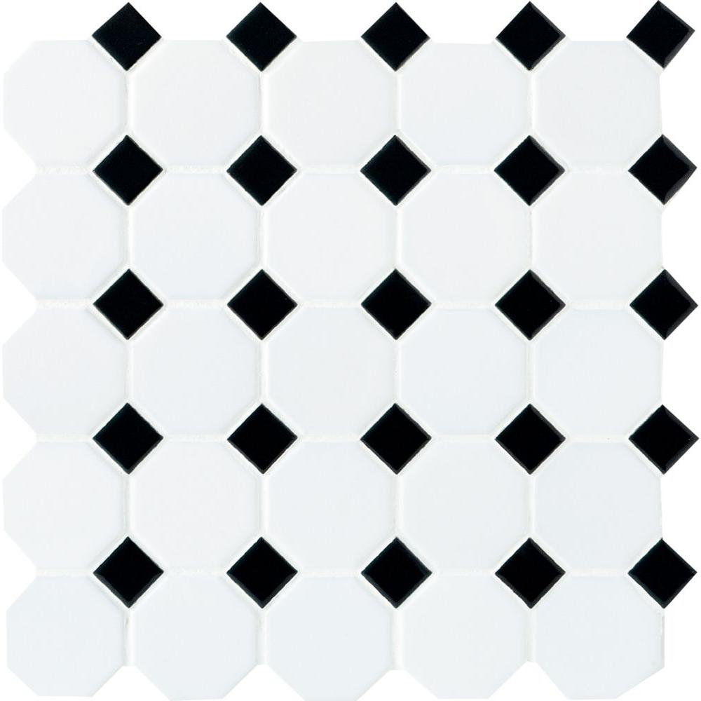 Fashionable black and white ceramic tile daltile matte white with black dot 12 in. x 12 in. x 6 pwqhgkx
