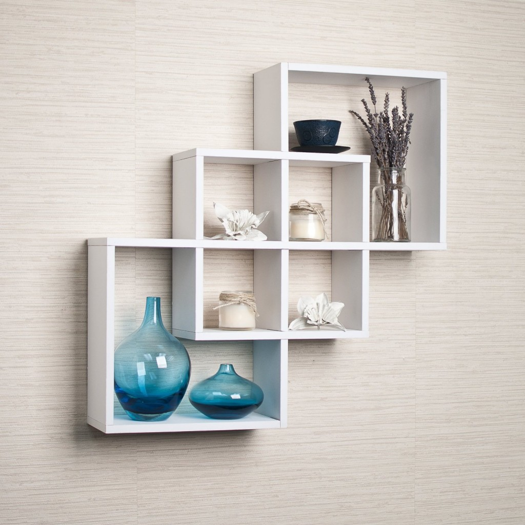 Fashionable white wall mounted shelves intersecting squares decorative white wall shelf:  intersecting_white_floating_shelf zikxhec