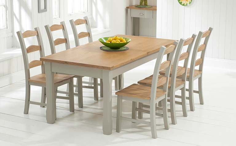 Gorgeous oak dining table and chairs oak and grey painted dining table setspainted dining table sets great  furniture vzpfuea