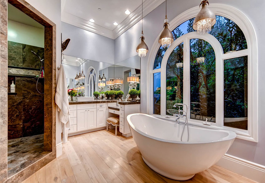 Great bathroom pendant lighting beautiful master bath with tub and pendant lights with hanging glass ddbgdts