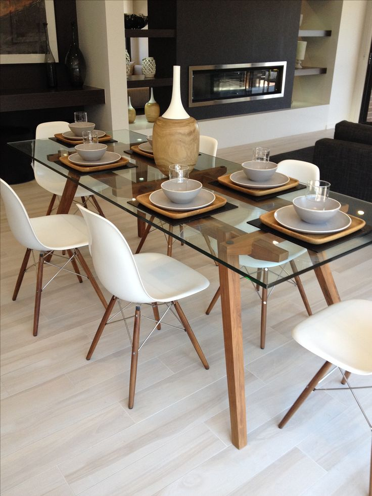 Great glass dining table and chairs sticotti glass dining table and eames dining chairs in walnut kbmwsdl