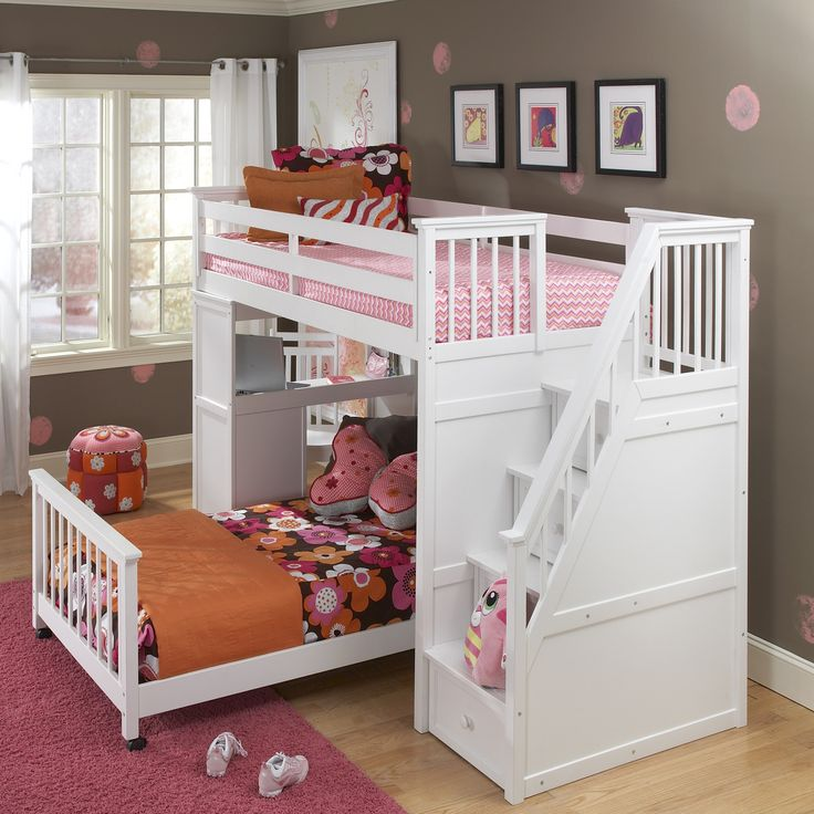 Great kids bunk beds with stairs ne kids school house stair loft bed - i love the actual steps xoryevk