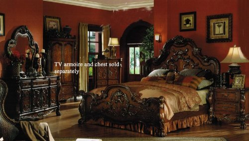 Great king size bedroom furniture 4pc king size bedroom set in brown cherry finish. by acme furniture lagiutk