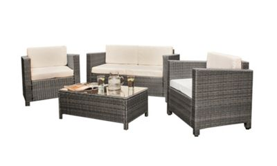 Great rattan effect garden furniture comfy living rattan garden furniture 4 piece set glass topped table in grey pzfeqzv