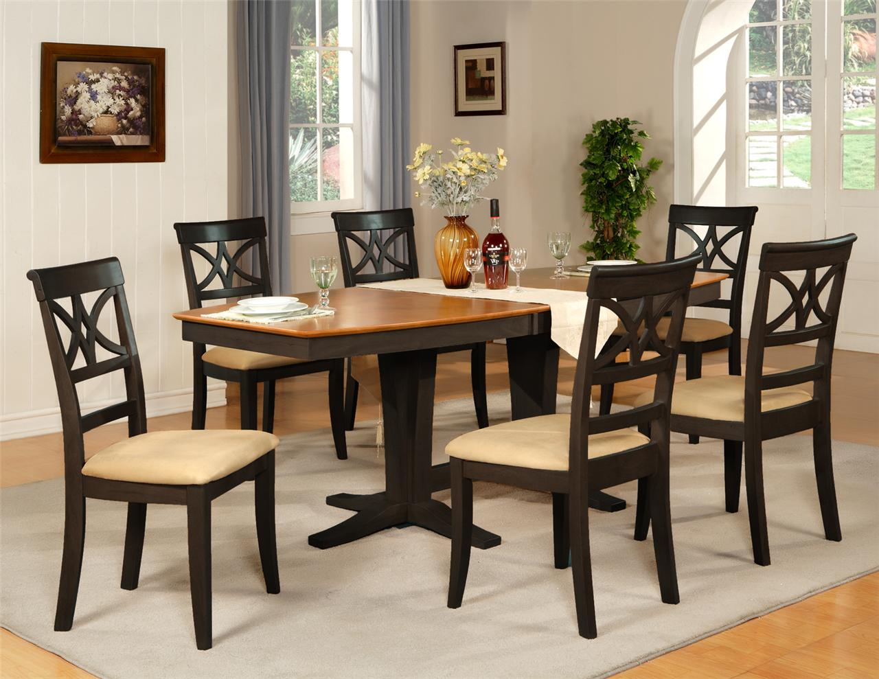 Home Decor dining room table and chairs dining room table w 6 microfiber padded chairs black cherry brown gltbmfp
