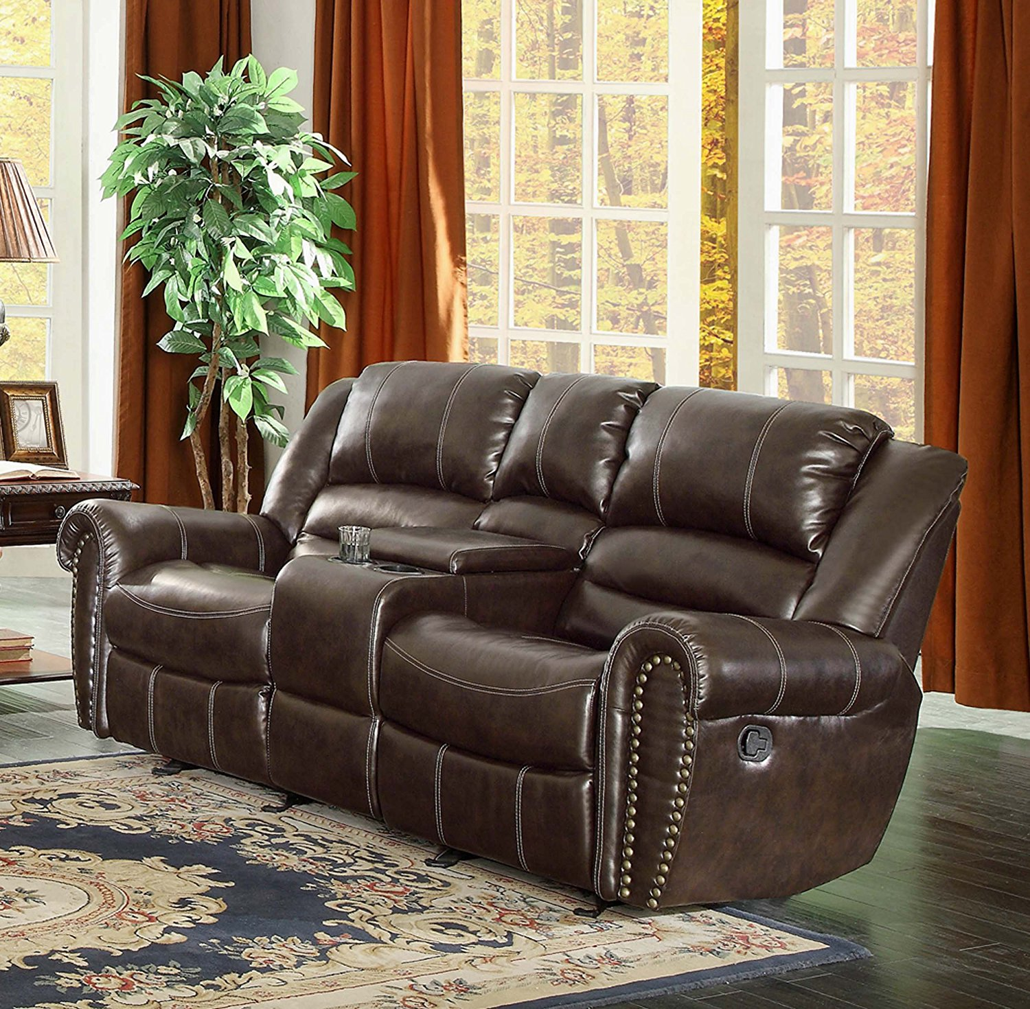 Home Decor reclining loveseat with center console amazon.com: homelegance 9668brw-2 double glider reclining loveseat with center  console, brown bonded zvacfcb