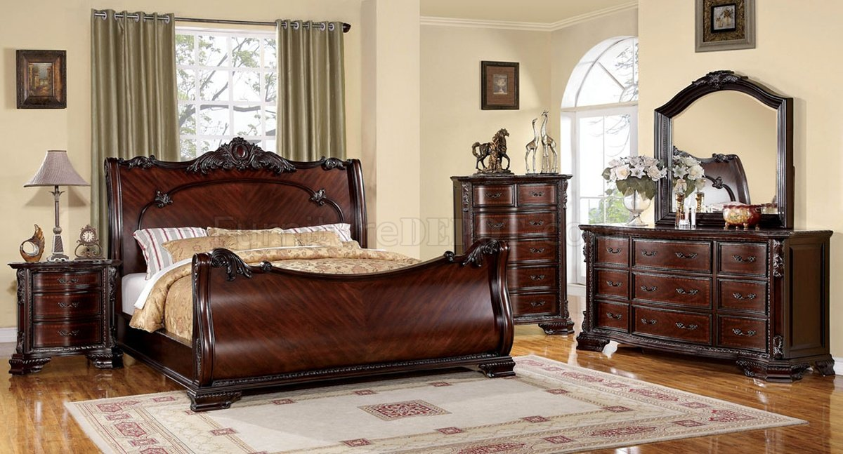Ideas of classic bedroom furniture cm7277 bellefonte bedroom in brown cherry w/optional casegoods bpxuona