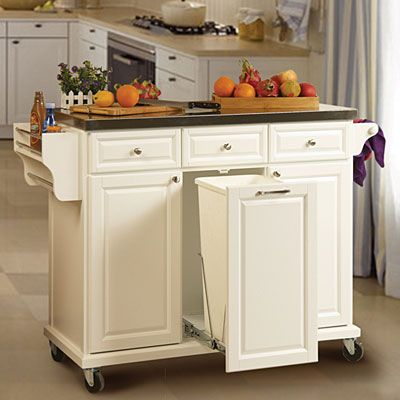 Ideas of kitchen carts and islands white kitchen cart with trash pull $279.99. use for my folding center/extra jekatsm