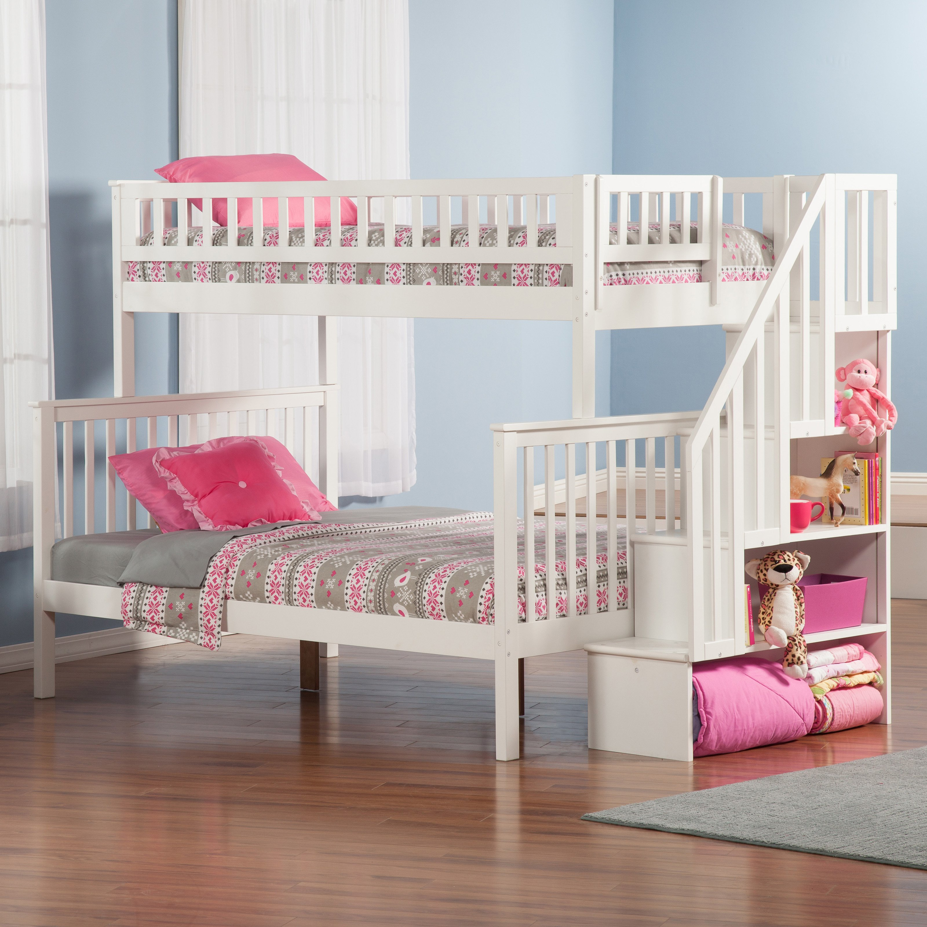 Ideas of white bunk beds with stairs atlantic furniture columbia twin over full stairway bunk bed | hayneedle kkqfoey