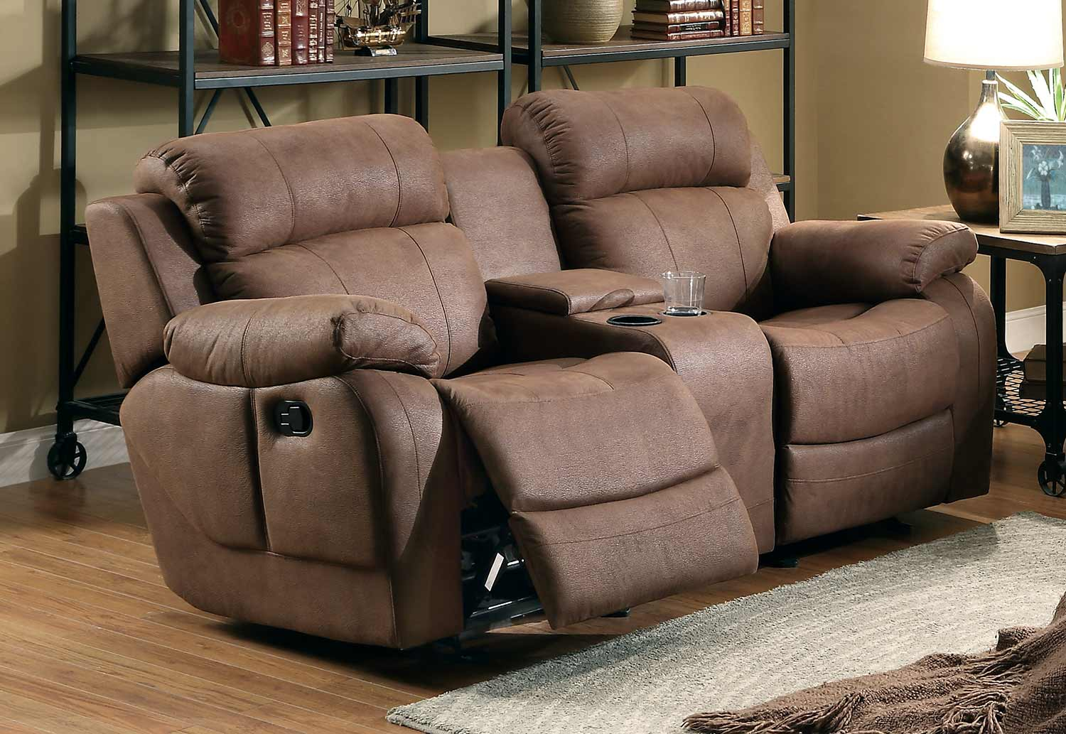 Images of reclining loveseat with center console homelegance marille double glider reclining love seat with center console -  dark jnxpgla