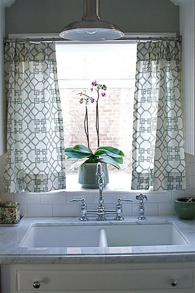 Impressive cafe curtains for kitchen beautiful kitchen sink design with gray, walls paint color, white carrara  marble vokyooe