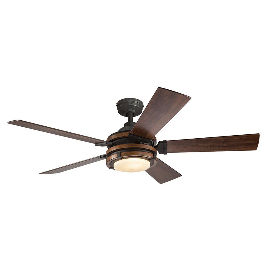 Impressive ceiling fans with lights and remote control kichler barrington 52-in distressed black and wood indoor downrod or close  mount gtdivmw