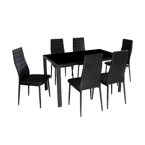 Impressive dining table and chair set modern glass 7 piece dining table set eukbzqb