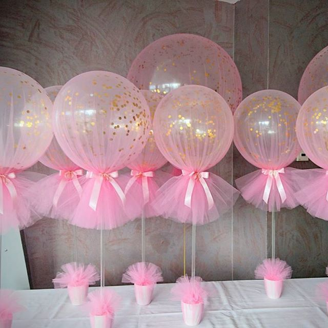 Inspiration baby shower table decorations ... shower centerpiece. see more. love our confetti and tulle balloons with vnbtuzv