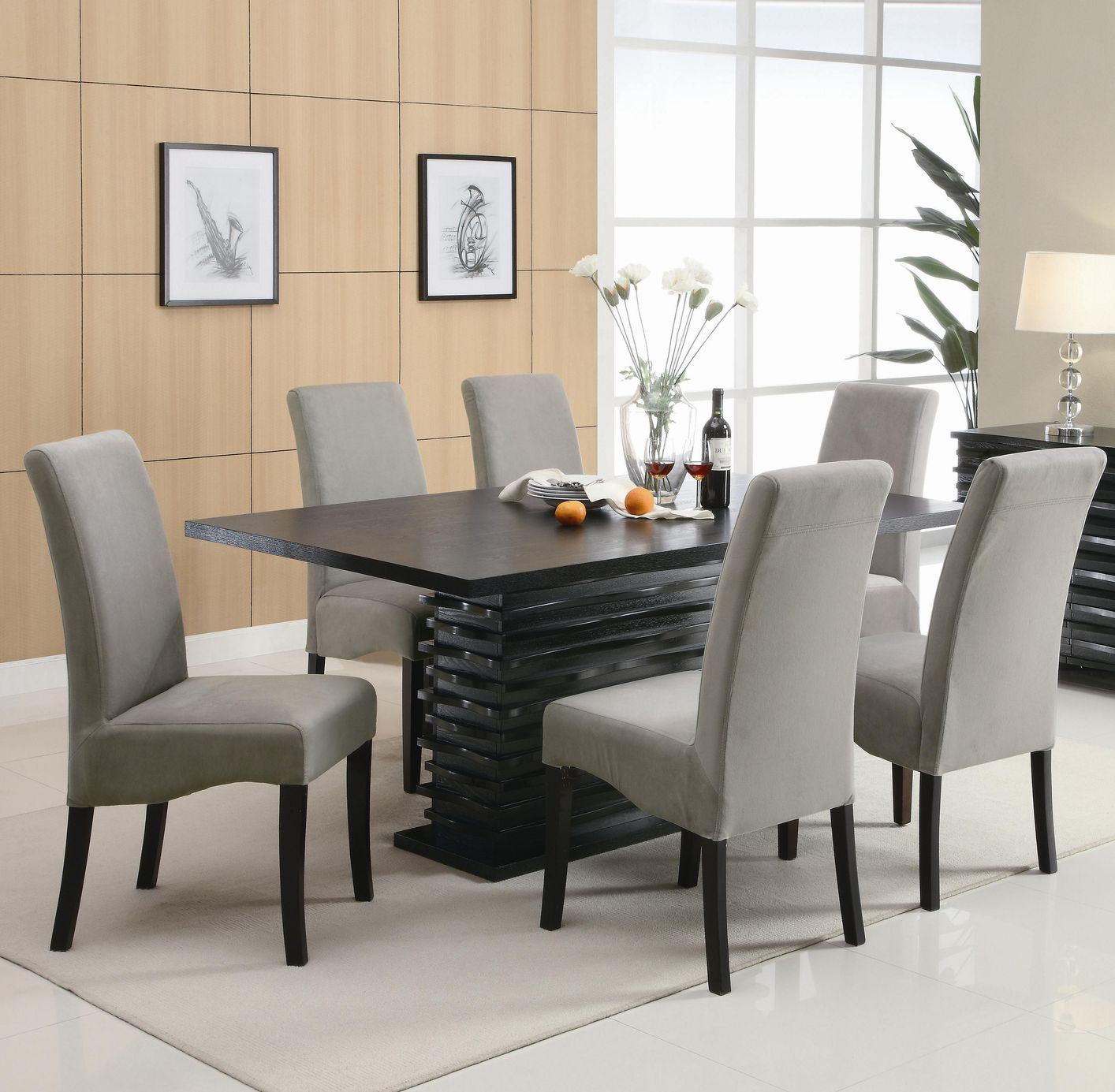 Luxury black dining table and chairs ... black dining room sets wqrnklt