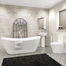Luxury contemporary bathroom suites 1830x710mm caitlyn freestanding bath suite - lyon ii ... nctwsps