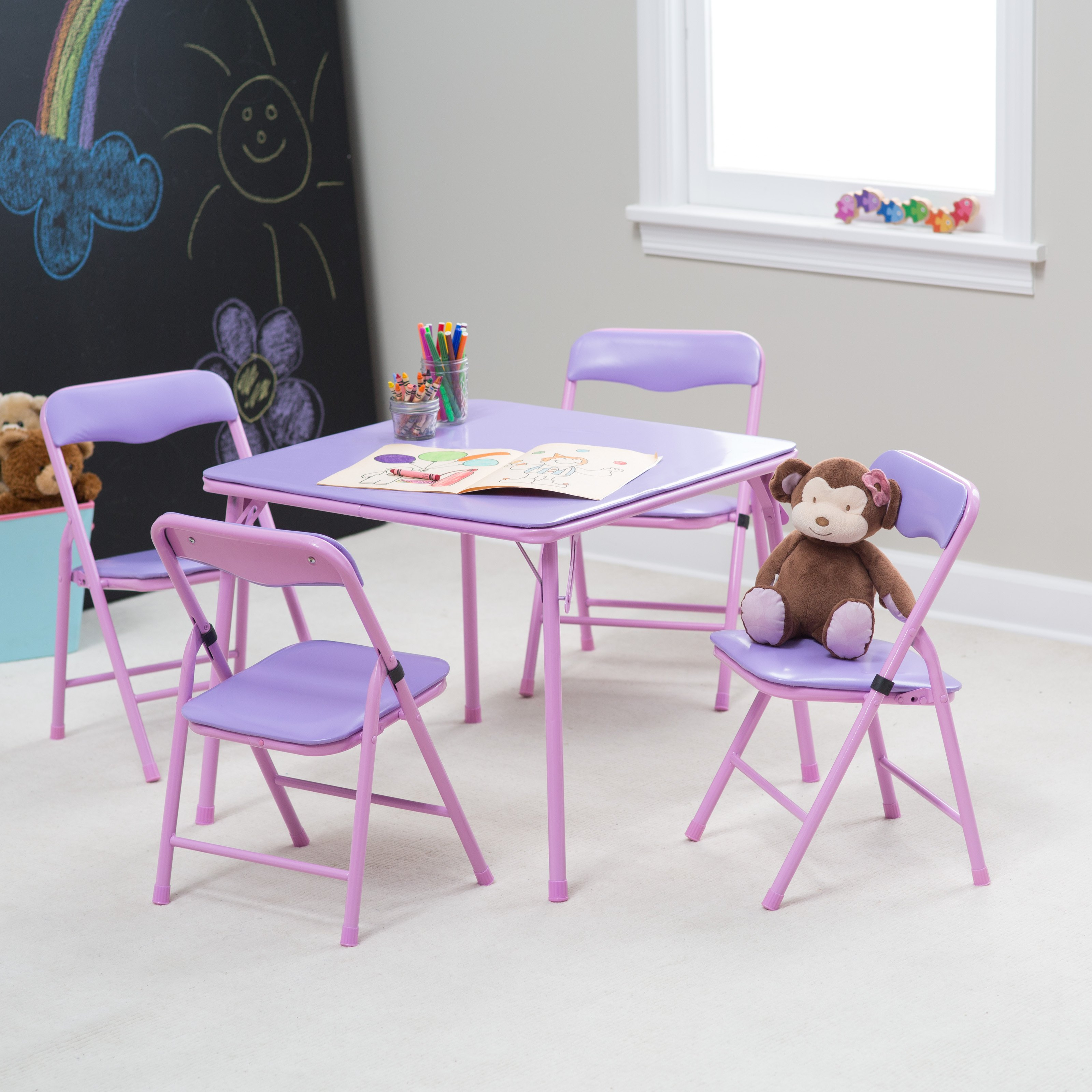 Luxury folding chairs and tables showtime childrens folding table and chair set - multi-color   hayneedle pjzaynm