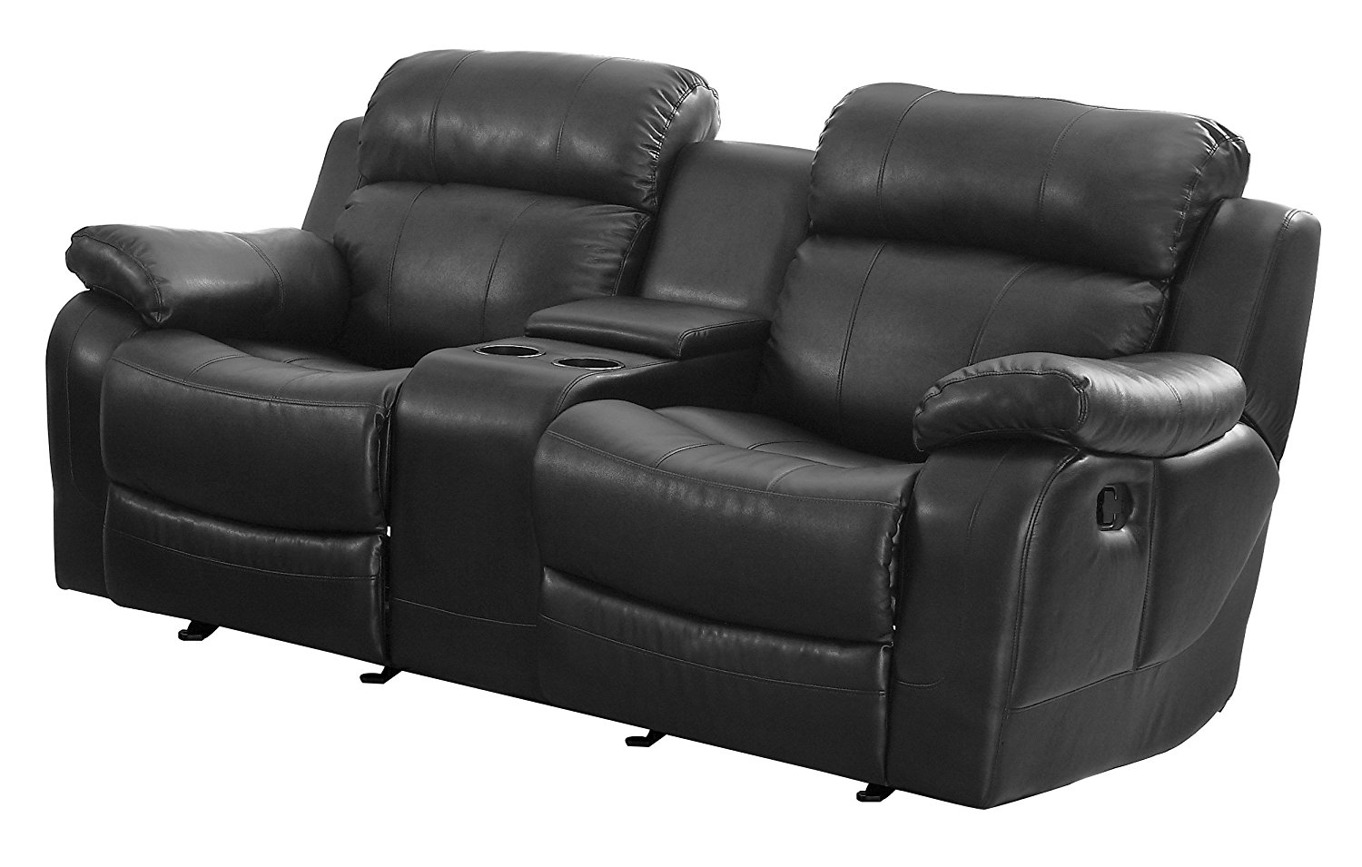 Luxury reclining leather loveseat amazon.com: homelegance marille reclining loveseat w/ center console cup  holder, black bonded czgvpxt
