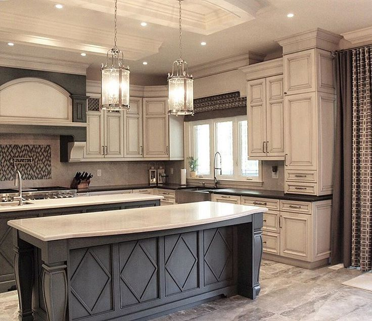 Majestic antique white kitchen cabinets dark grey island with white countertop and antique white cabinets with  black dpndhhj