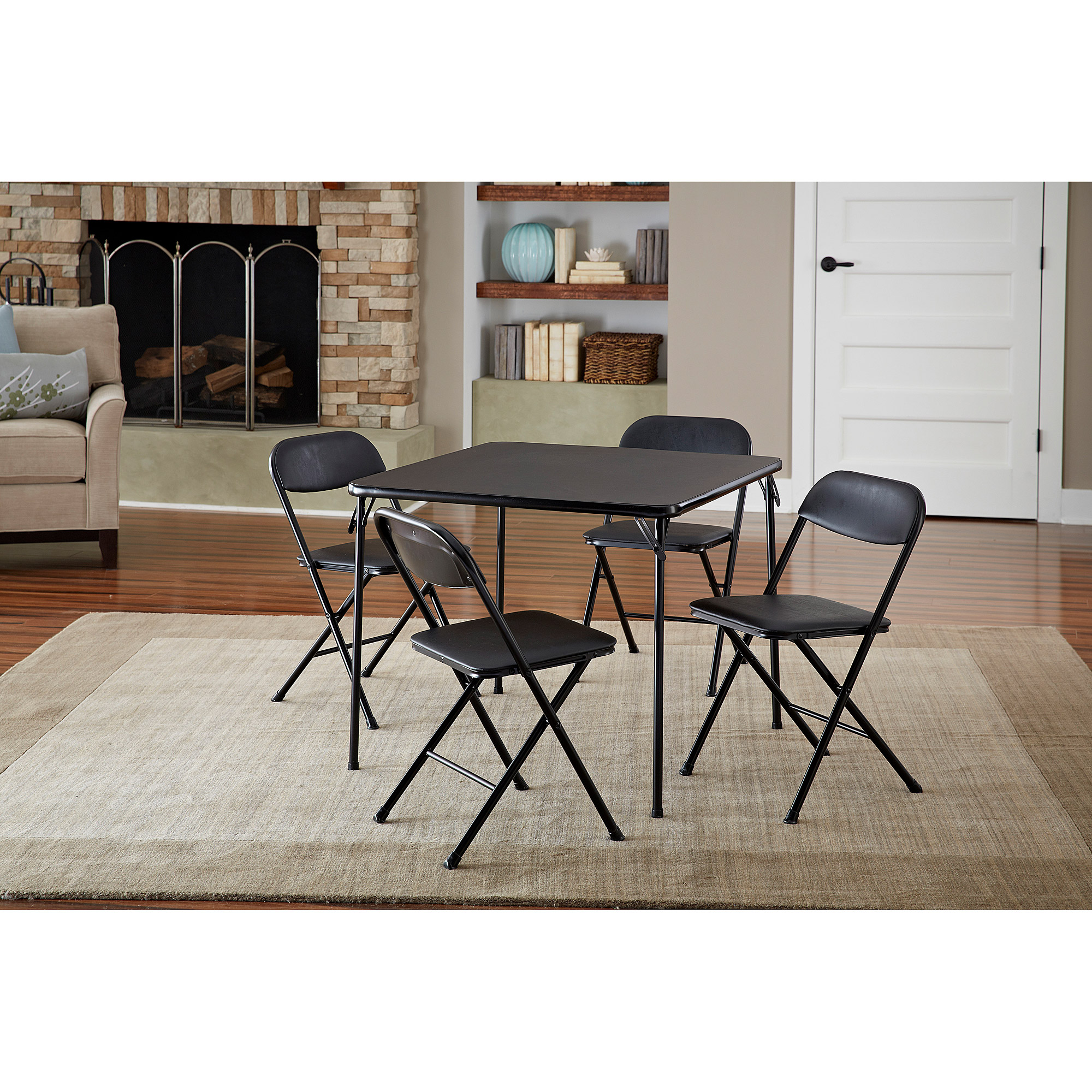 Majestic folding table and chairs set cosco 5-piece card table set, black - walmart.com tktpang