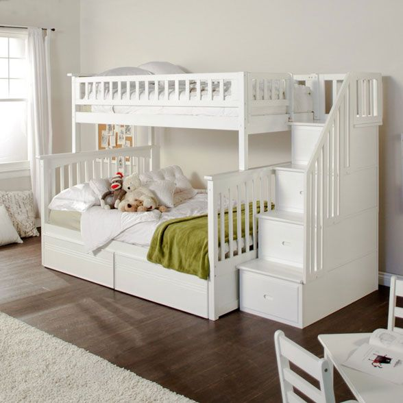 Majestic white bunk beds with stairs this bunkbed with stairs is very simple and elegant and the railing really aimklhj