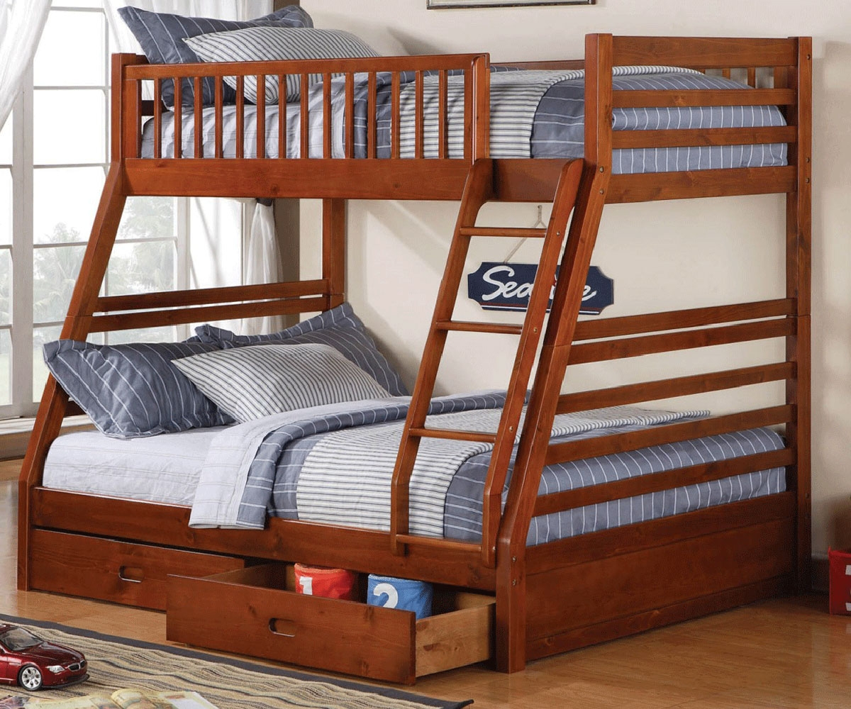 Modern bunk beds twin over full honey oak twin full bunk bed 46063 kids bedroom furniture bunk beds with knjlczg