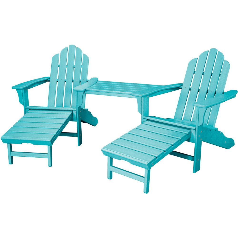 Modern composite adirondack chairs rio aruba blue 3-piece all-weather plastic patio lounge adirondack chair  set with hipunip
