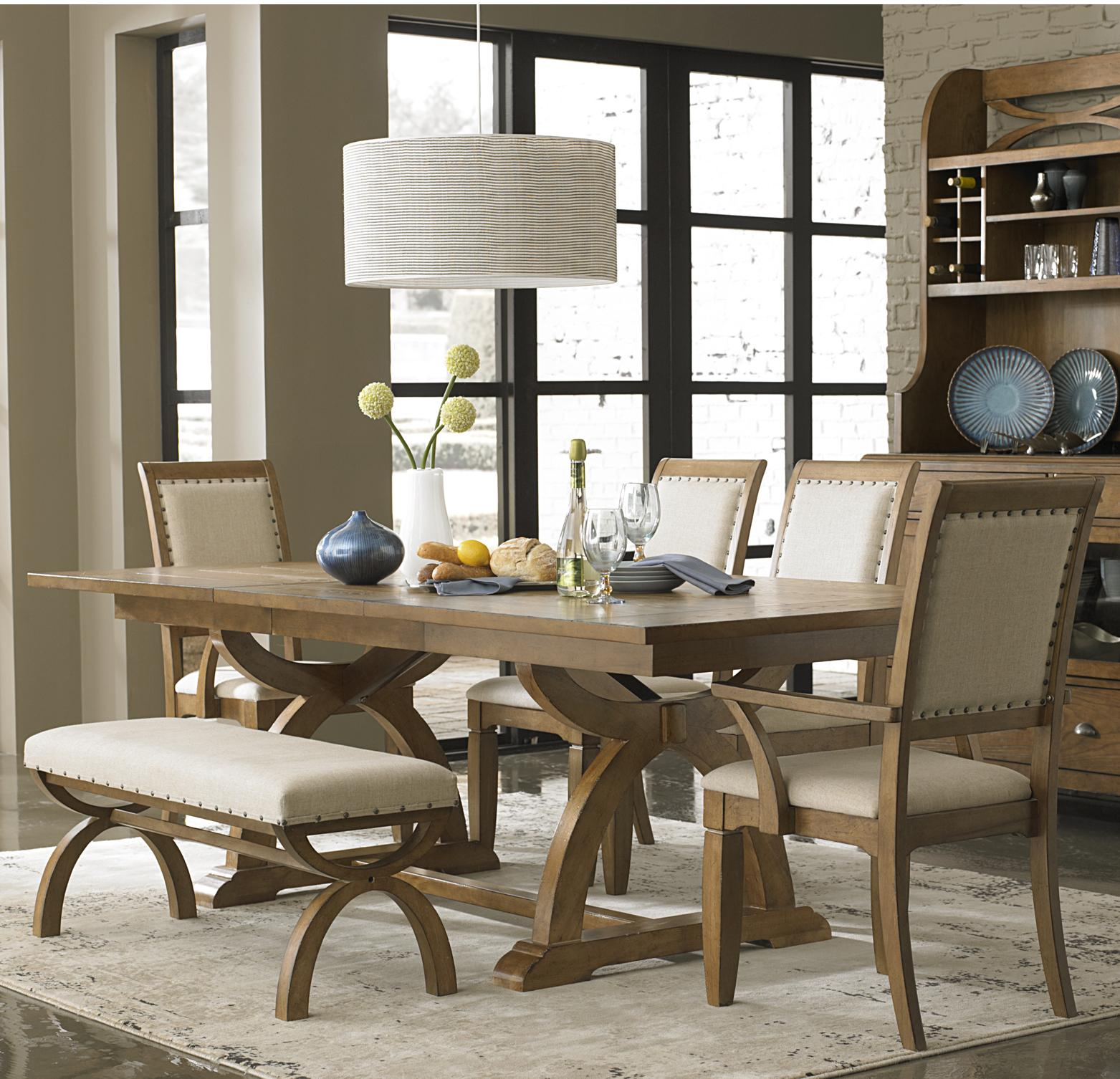 Modern dining room sets with bench 6 piece trestle table set with 4 upholstered chairs u0026 dining bench jgansin