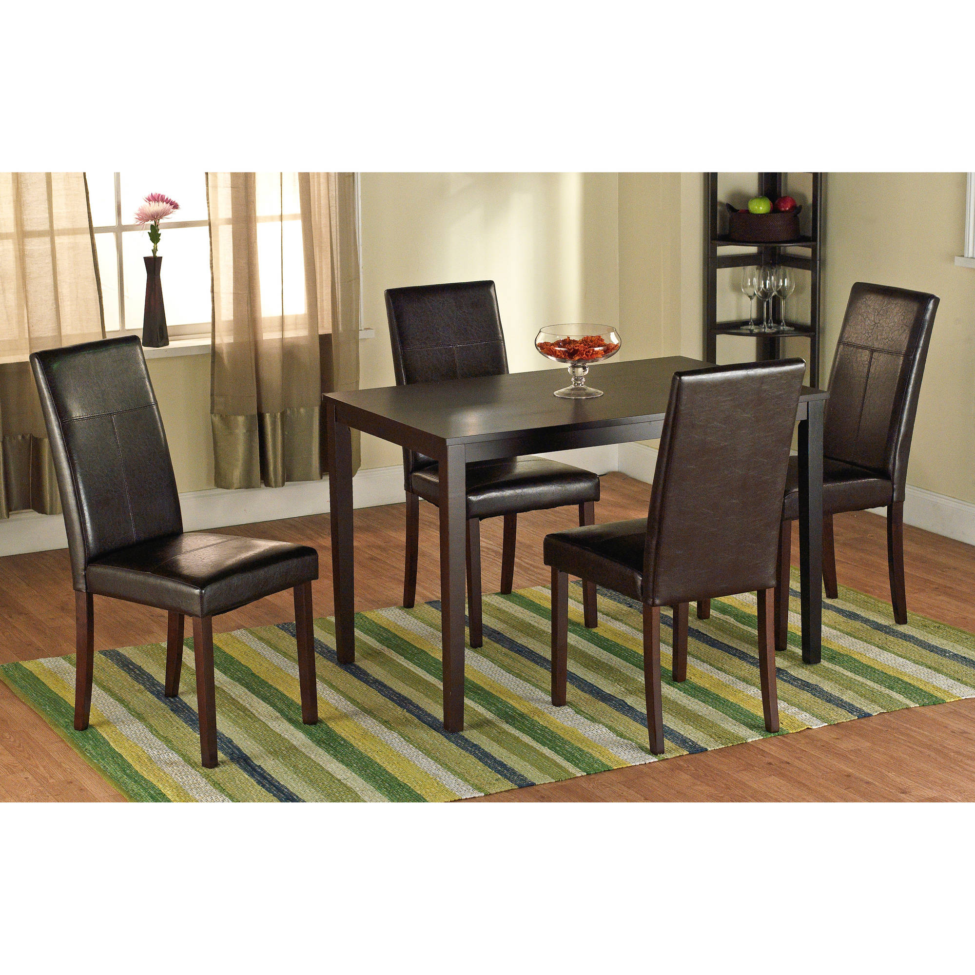 Modern dining room table and chair sets faux leather parson dining chair, set of 2 - walmart.com fyetdrd