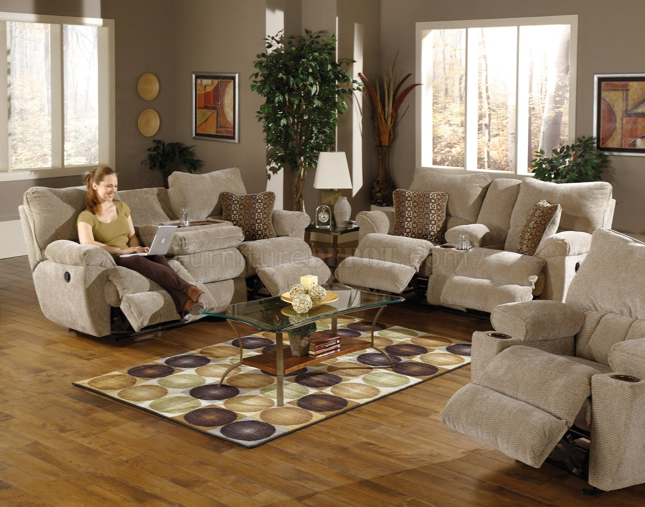 Modern reclining sofa and loveseat sable/earth fabric madison reclining sofa u0026 loveseat set gbpkzsh