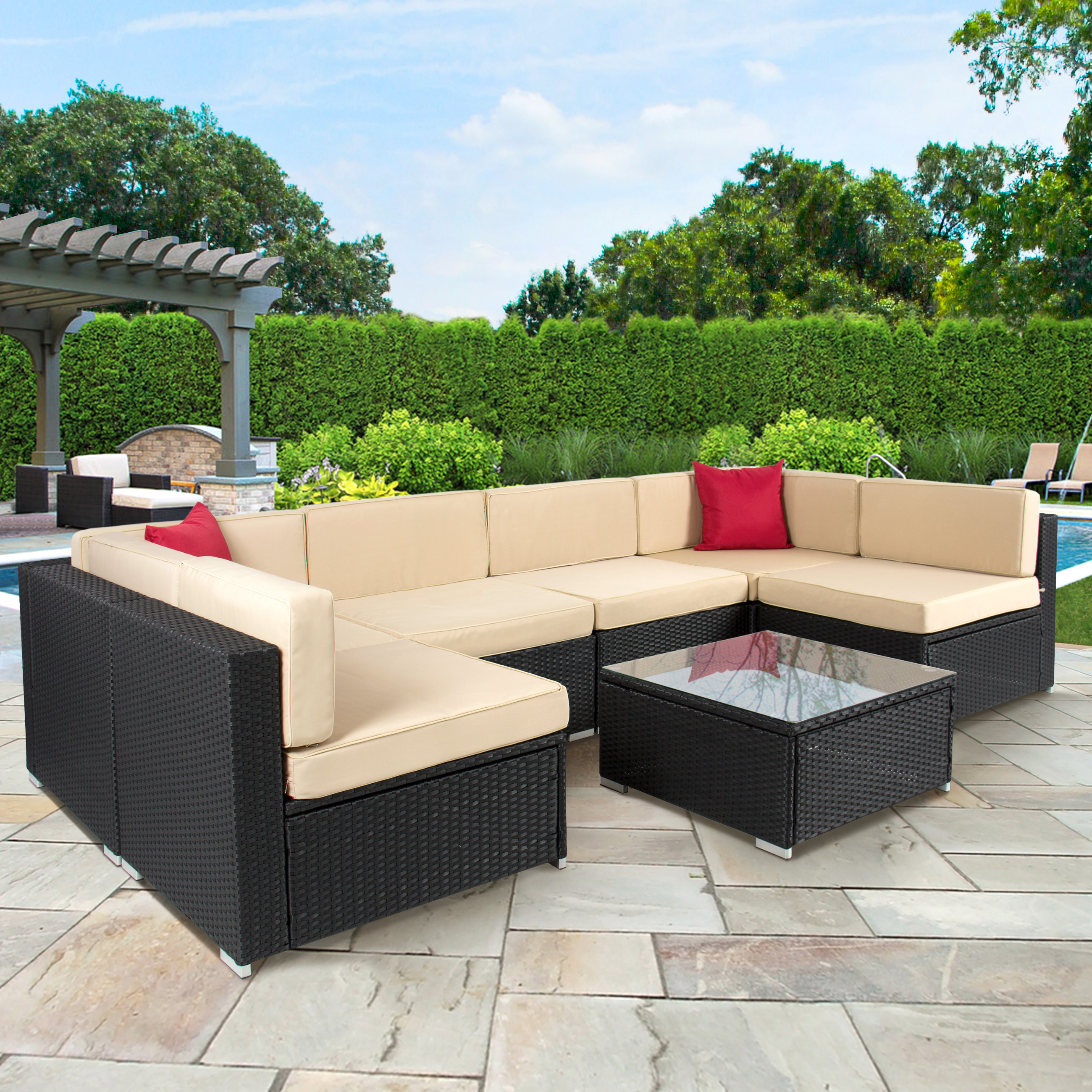 Modular all weather rattan furniture best choice products outdoor garden patio 4pc cushioned seat black wicker  sofa ygskunx