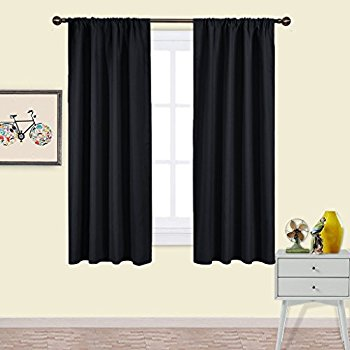 Modular bedroom blackout curtains nicetown black blackout curtains panels - solid thermal insulated window  treatment blackout ovstzyo