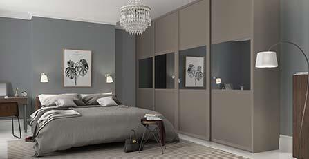 Modular fitted bedroom furniture deluxe shaker: 3 panel stone grey / grey mirror doors with matching premier tyuqdxo