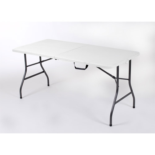 Modular white folding table and chairs mainstays 5u0027 centerfold table, white ekbsvaf