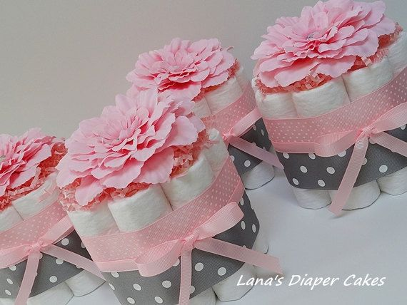 New baby shower decorations for girl four pink and gray flowers mini diaper cake baby shower centerpiece wauluoq