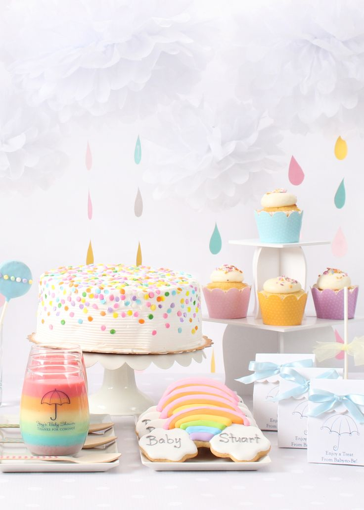 New baby shower theme decorations a rainbow and clouds themed baby shower is perfect for a boy, girl, hhbwkku